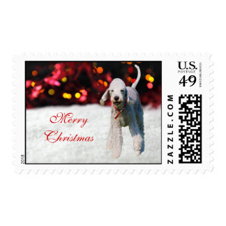 Bedlington Terrier dog snow custom Christmas Postage