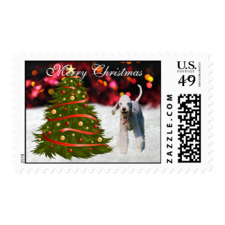 Bedlington Terrier dog snow tree custom Christmas Postage