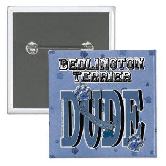 Bedlington Terrier DUDE 2 Inch Square Button