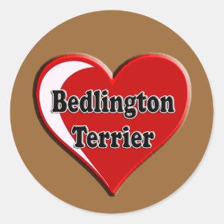 Bedlington Terrier en el corazón para los amantes Pegatina Redonda
