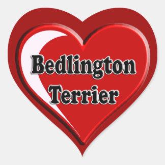 Bedlington Terrier en el corazón para los amantes Pegatina En Forma De Corazón
