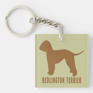 Bedlington Terrier Square Acrylic Key Chain