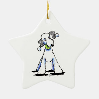 Bedlington Terrier Let's Play Double-Sided Star Ceramic Christmas Ornament