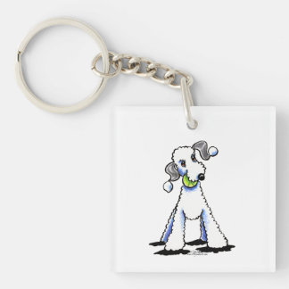 Bedlington Terrier Let's Play Single-Sided Square Acrylic Keychain