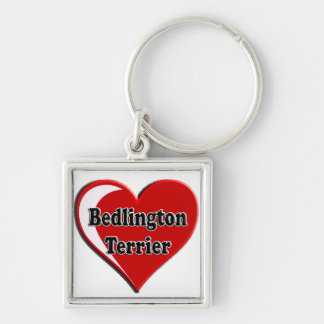 Bedlington Terrier on Heart for dog lovers Silver-Colored Square Keychain
