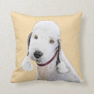 Bedlington Terrier Painting - Original Dog Art Throw Pillow