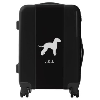 Bedlington Terrier Silhouette with Custom Text Luggage