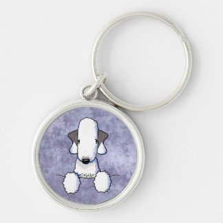 Bedlington Terrier Silver-Colored Round Keychain
