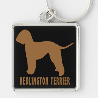 Bedlington Terrier Silver-Colored Square Keychain