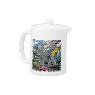 Bedlington Terrier Summer Garden Art Teapot