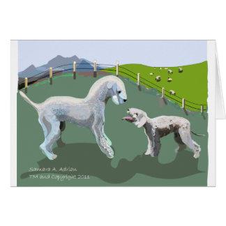 Bedlington Terriers - Meeting your Hero Greeting Card