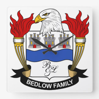 Bedlow Family Crest Square Wallclock