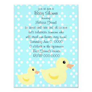 Bedotted Duck in Blue 4.25x5.5 Paper Invitation Card