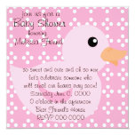 """Bedotted Duck in Pink 5.25"""" Square Invitation Card"""