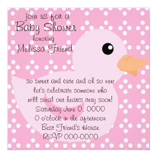 Bedotted Duck in Pink Invitation