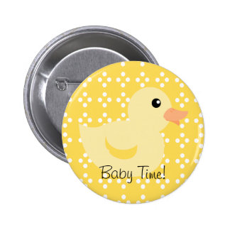 Bedotted Duck in Yellow Pinback Buttons