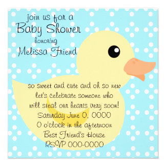 Bedotted Duck in Yellow Custom Invitation