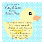 """Bedotted Duck in Yellow 5.25"""" Square Invitation Card"""