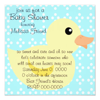 Bedotted Duck in Yellow Invitation