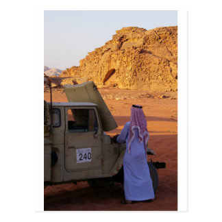 Bedouin checking car in Wadi Rum Desert Postcard