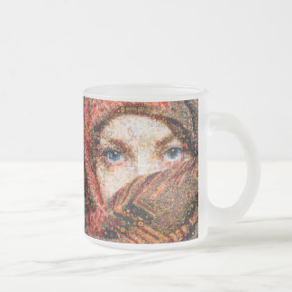 Bedouin woman-bedouin girl-eye collage-eyes-girl frosted glass coffee mug