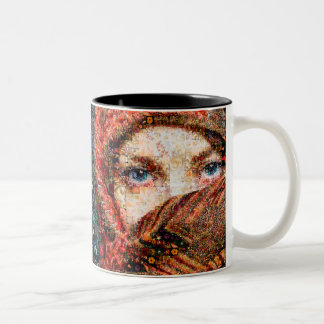 Bedouin woman-bedouin girl-eye collage-eyes-girl Two-Tone coffee mug