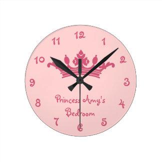 Bedroom de princesa Girl's rosado personalizado Reloj Redondo Mediano