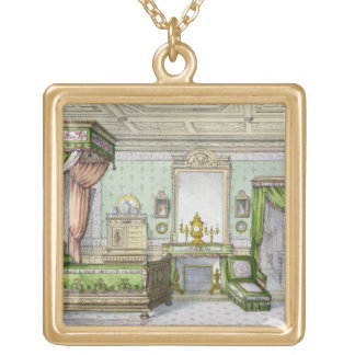 Bedroom in the Renaissance style (colour litho) Gold Plated Necklace