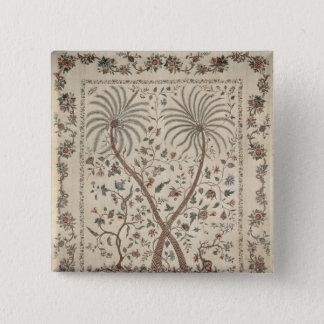Bedspread with Palm Tree Motifs Pinback Button
