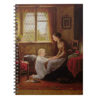Bedtime, 1890 (oil on panel) spiral notebook