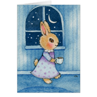 Bedtime Bunny - Cute Rabbit Art Card