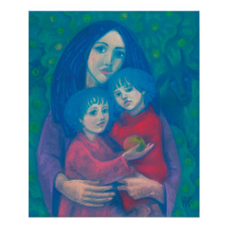 Bedtime fairytale, pastel painting mother children poster