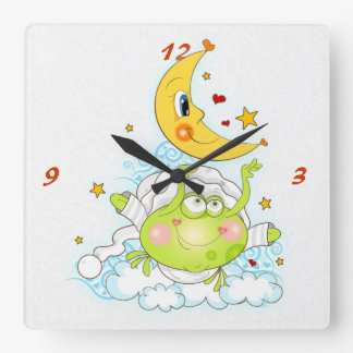 Bedtime Frog Square Wall Clock