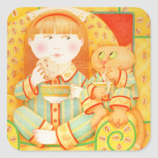 """Bedtime Snack 1.5"""" Square Stickers"""