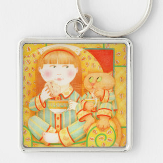 Bedtime Snack Large Premium Square Keychain