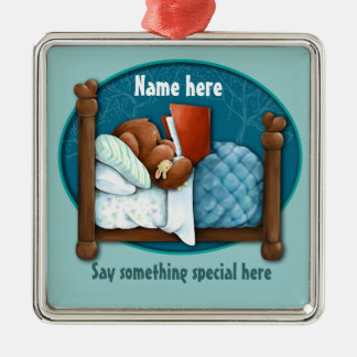 Bedtime story bear and bunny square metal christmas ornament