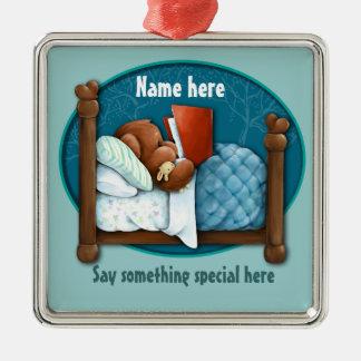 Bedtime story bear and bunny christmas ornament