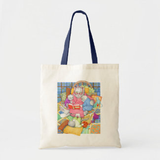 Bedtime Story Natural/Navy Budget Tote Canvas Bag