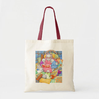 Bedtime Story Natural/Red Budget Tote Canvas Bag
