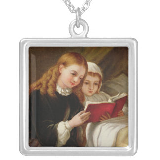 Bedtime Story Square Pendant Necklace