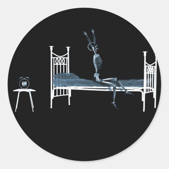 Bedtime X-Ray Skeleton Black Blue Classic Round Sticker