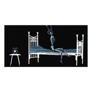 Bedtime X-Ray Skeleton Black Blue Custom Photo Card