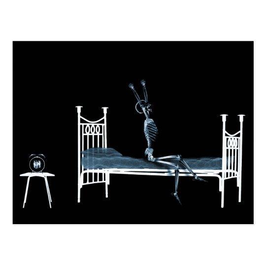 Bedtime X-Ray Skeleton Black Blue Postcard
