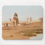 Beduino en el desierto, 1884 (aceite en lona) alfombrilla de raton
