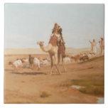 Beduino en el desierto, 1884 (aceite en lona) azulejo cuadrado grande