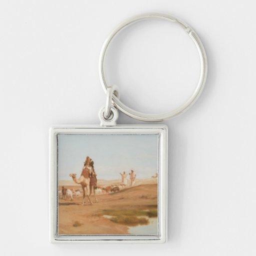 Beduino en el desierto, 1884 (aceite en lona) llavero cuadrado plateado