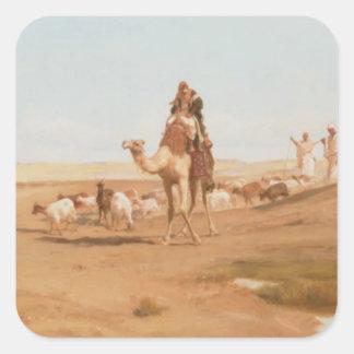 Beduino en el desierto, 1884 (aceite en lona) pegatina cuadrada
