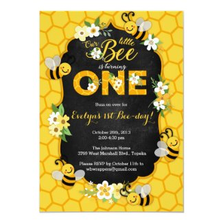Bee 1st Birthday Party Invitation - Bee Birthday