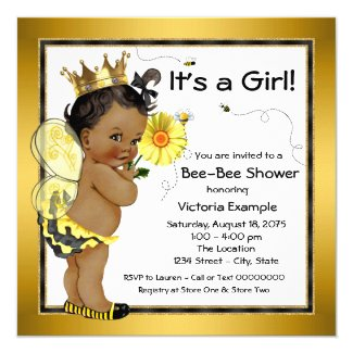 Bee African American Girl Baby Shower