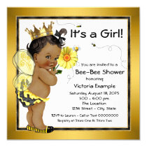 Bee African American Girl Baby Shower Card